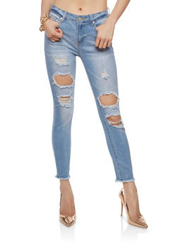 Whisker Wash Destruction Skinny Jeans - 1074069398643