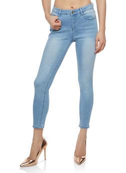 Frayed Whisker Wash Skinny Jeans - 1074069398655