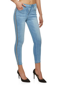 Side Striped Ribbon Skinny Jeans - 1074069398675