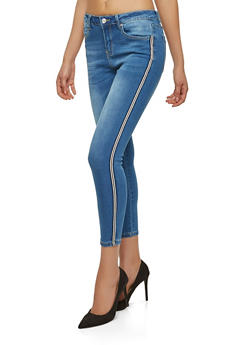 Side Striped Ribbon Skinny Jeans - 1074069398675