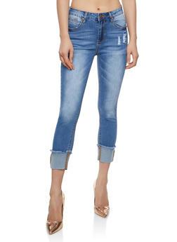Frayed Wide Cuff Skinny Jeans - 1074069398906