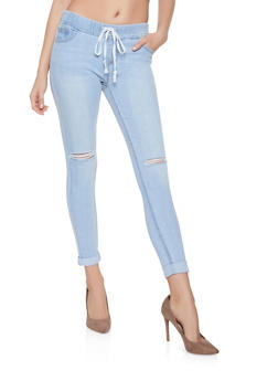Highway Elastic Waist Distressed Jeans - 1074071311123
