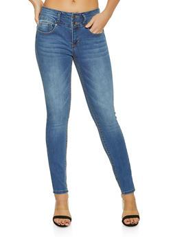 WAX 2 Button Push Up Jeans - MEDIUM WASH - 1074071610066