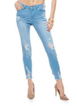 WAX Raw Hem Push Up Skinny Jeans - 1074071610090