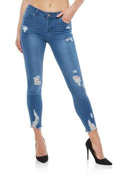 WAX Raw Hem Push Up Skinny Jeans - 1074071610090