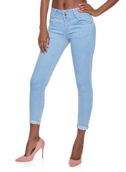 WAX 3 Button Push Up Jeans | 1074071610094 - LIGHT WASH - 1074071610094