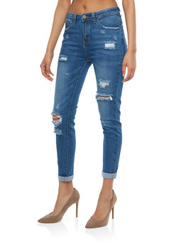 WAX High Waisted Distressed Skinny Jeans - 1074071610120