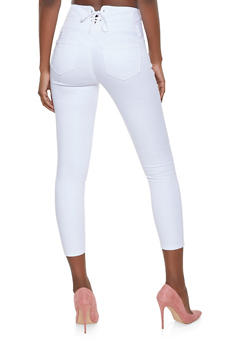 WAX Lace Up Back Skinny Jeans - WHITE - 1074071610122