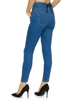 WAX Lace Up Back Skinny Jeans - 1074071610122
