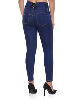 WAX Lace Up Back Skinny Jeans - DARK WASH - 1074071610122