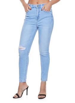 WAX Distressed High Waisted Jeans - 1074071610130