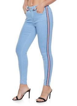 WAX Striped Tape Trim Skinny Jeans - 1074071610140