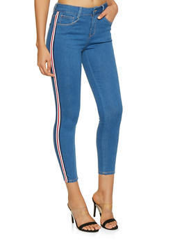 WAX Striped Tape Trim Skinny Jeans - 1074071610140