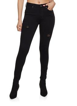 WAX Distressed Jeans - BLACK - 1074071610150