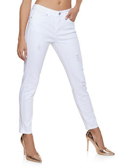 WAX Distressed Jeans - WHITE - 1074071610150