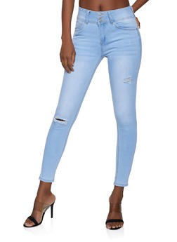 WAX Triple Button Skinny Jeans - 1074071610156