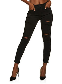 WAX High Waisted Frayed Jeans - 1074071610172