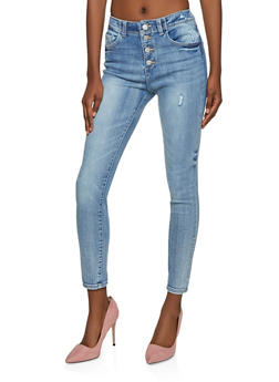 WAX 4 Button High Waisted Jeans - 1074071610182