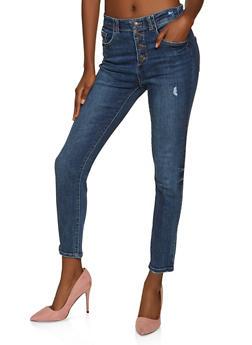 WAX 4 Button High Waisted Jeans - 1074071610182