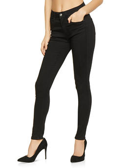 WAX Solid Push Up Skinny Jeans - BLACK - 1074071610210