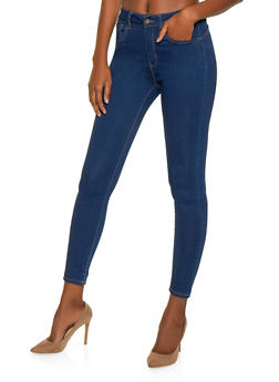WAX Solid Push Up Skinny Jeans - BLUE - 1074071610210