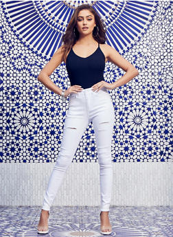WAX High Waisted Ripped Skinny Jeans - 1074071612710