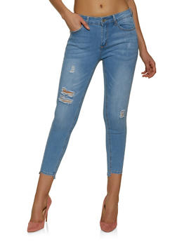 WAX Frayed Whisker Wash Skinny Jeans - 1074071613109