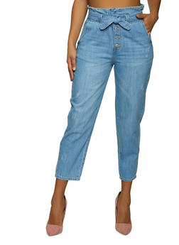WAX Belted Paper Bag Waist Jeans - 1074071613910
