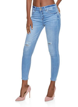 WAX 2 Button Distressed Skinny Jeans - 1074071615310