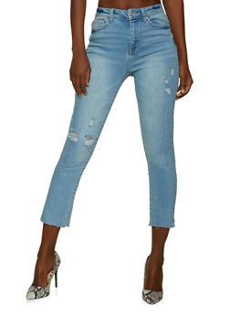 WAX Frayed Hem Straight Leg Jeans - 1074071615810