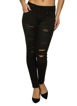 WAX Three Button Distressed Jeans - 1074071616700