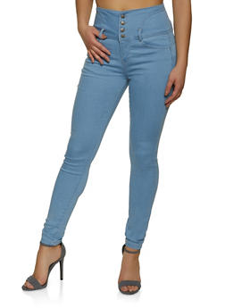 WAX High Waisted 4 Button Jeans - 1074071617530