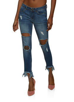 WAX Frayed Hem Push Up Jeans - 1074071618900