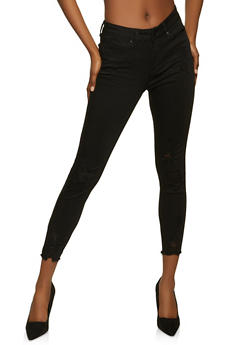 WAX Frayed Hem Distressed Skinny Jeans - 1074071619017