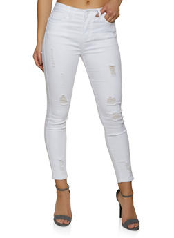 WAX High Waisted Frayed Skinny Jeans - 1074071619074