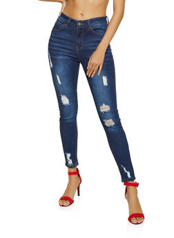 WAX High Waisted Frayed Skinny Jeans - 1074071619074