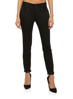 WAX 3 Button Push Up Skinny Jeans - BLACK - 1074071619084