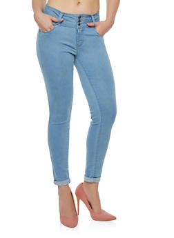 WAX 3 Button Push Up Skinny Jeans - LIGHT WASH - 1074071619084