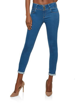 WAX 3 Button Push Up Skinny Jeans - MEDIUM WASH - 1074071619084