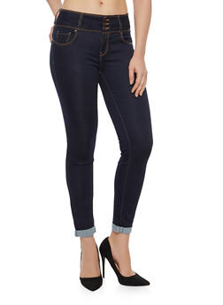 WAX 3 Button Push Up Skinny Jeans - DARK WASH - 1074071619084