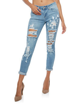 WAX Destroyed Cuffed Skinny Jeans - LIGHT WASH - 1074071619112