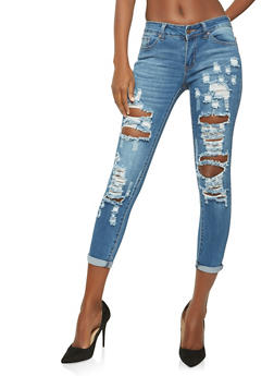WAX Destroyed Cuffed Skinny Jeans - 1074071619112