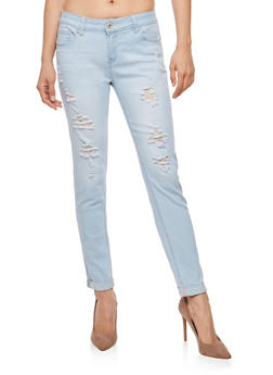 WAX Destroyed Rolled Cuff Push Up Jeans - 1074071619330