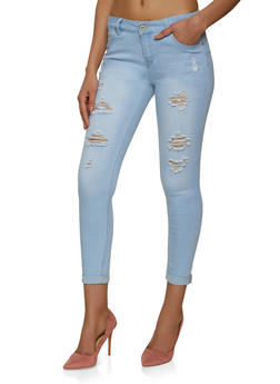 WAX Fixed Cuff Distressed Jeans - 1074071619333