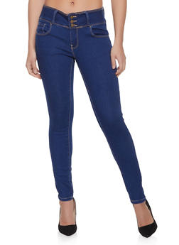 WAX High Waist Push Up Skinny Jeans - BLUE - 1074071619340