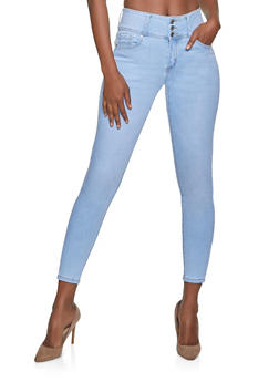 WAX 3 Button Push Up Skinny Jeans - 1074071619696