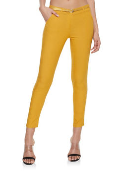 Belted Stretch Dress Pants - 1074072290165