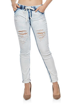 Destroyed Drawstring Waist Skinny Jeans - 1074072290345