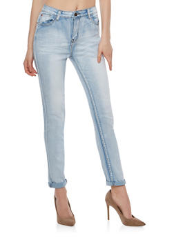 Faded Whisker Wash Skinny Jeans - 1074072290351