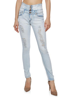 Distressed 4 Button High Waisted Skinny Jeans - 1074072290387